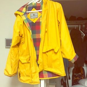 Vintage yellow raincoat w hood, small flaw